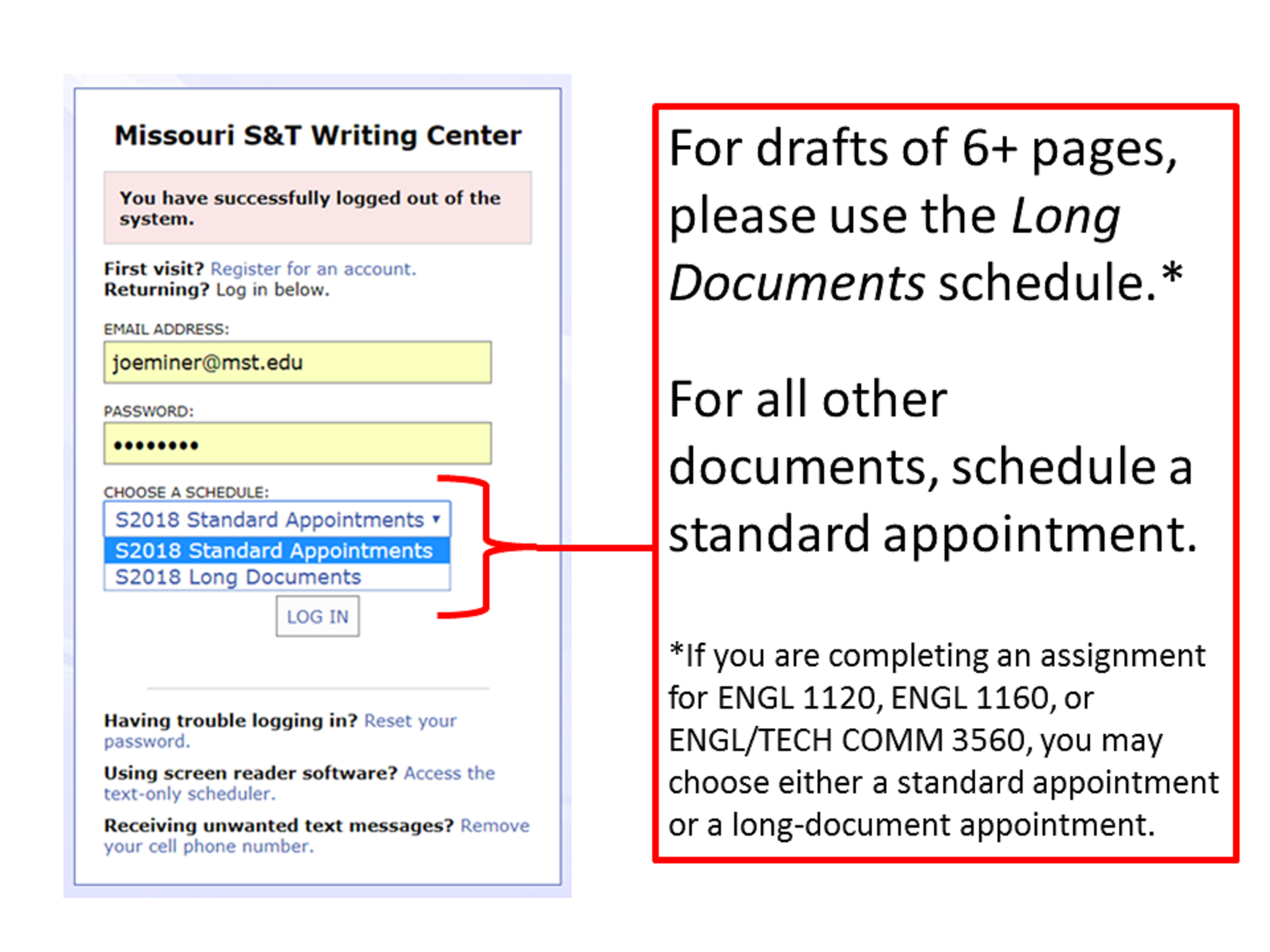 Standard and Long-Document Calendars